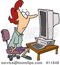 Cartoon Computer Illiterate Lady Sitting in Front of a Desktop PC by Ron Leishman