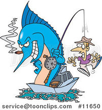 Cartoon Marlin Smoking a Cigar and Reeling in a Guy on a Hook by Ron Leishman
