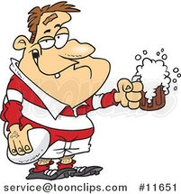 Cartoon Drunk Rugby Player Holding a Ball and Frothy Beer by Ron Leishman