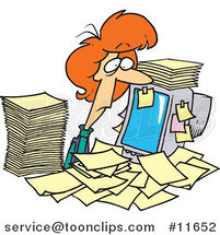 Cartoon Business Woman Surrounded by Paperwork at Her Office Desk by Ron Leishman