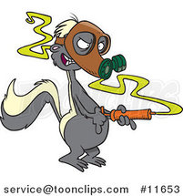 Cartoon Stinky Skunk Wearing a Gas Mask and Spraying by Ron Leishman