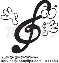Cartoon Black and White Design of a Treble Clef by Ron Leishman