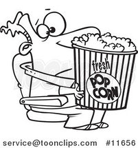 Cartoon Outlined Movie Guy Holding a Big Bucket of Popcorn by Ron Leishman