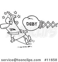 Cartoon Outlined Debt Boxing Glove Knocking out a Guy by Ron Leishman