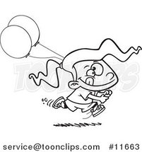 Cartoon Outlined Birthday Girl Running with Party Balloons by Ron Leishman