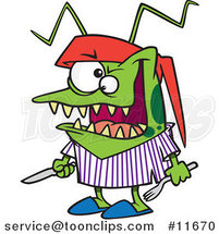 Cartoon Hungry Bed Bug Holding Silverware by Ron Leishman