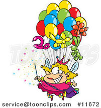 Cartoon Fairy Floating with Balloons by Ron Leishman