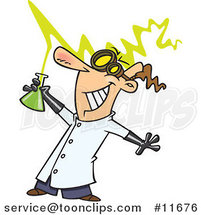 Cartoon Mad Scientist Holding a Beaker by Ron Leishman