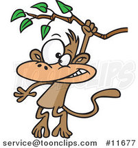 Cartoon Monkey Swinging from a Branch by Ron Leishman