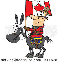 Cartoon Mountie on a Horse by Ron Leishman