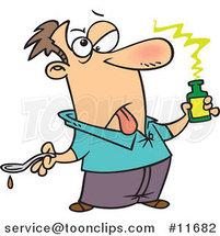 Cartoon Sick Guy Holding Medicine by Ron Leishman