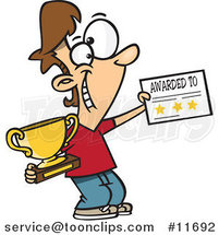 Cartoon Boy Holding a Trophy and Certificate by Ron Leishman