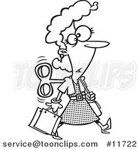 Cartoon Outlined Wind up Lady Shopping on Auto Pilot by Ron Leishman