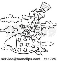Cartoon Outlined Uncle Sam Riding a Rocket by Ron Leishman