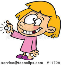 Cartoon Girl with a Missing Tooth Holding a Coin from the Tooth Fairy by Ron Leishman