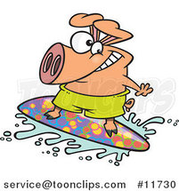 Cartoon Surfer Pig Riding a Wave by Toonaday