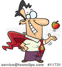 Cartoon Super Guy Tossing and Catching an Apple by Ron Leishman