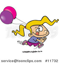 Cartoon Birthday Girl Running with Party Balloons by Ron Leishman