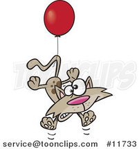 Cartoon Birthday Cat Floating with a Party Balloon by Ron Leishman