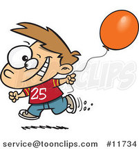 Cartoon Birthday Boy Running with a Party Balloon by Toonaday