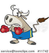 Cartoon Bullfighter Bull Boxer by Toonaday