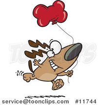 Cartoon Birthday Dog Running with a Party Balloon by Ron Leishman