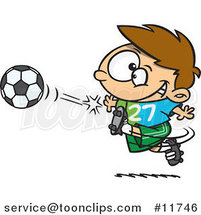 Cartoon Boy Kicking a Soccer Ball by Ron Leishman
