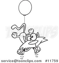 Cartoon Outlined Birthday Cat Floating with a Party Balloon by Ron Leishman