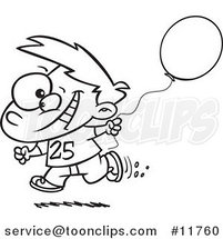 Cartoon Outlined Birthday Boy Running with a Party Balloon by Ron Leishman