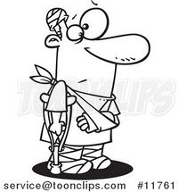 Cartoon Outlined Accident Prone Guy with Bandages and a Crutch by Ron Leishman