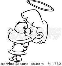 Cartoon Outlined Innocent Angelic Girl with a Halo by Ron Leishman