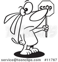 Cartoon Outlined Stop Dog Holding a Sign by Ron Leishman