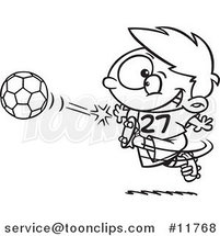 Cartoon Outlined Boy Kicking a Soccer Ball by Ron Leishman