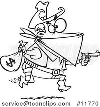 Cartoon Outlined Black Bart Outlaw Stealing Money by Ron Leishman