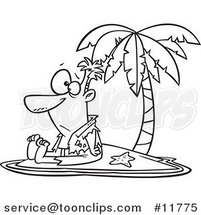 Cartoon Outlined Shipwrecked Guy on a Tropical Island by Ron Leishman