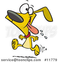 Cartoon Drooling Dog Running for Dinner by Ron Leishman