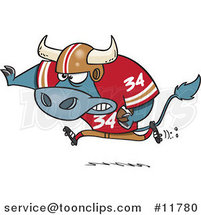 Cartoon Football Bull Running by Ron Leishman