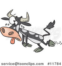 Cartoon Sweating Hot Cow by Ron Leishman