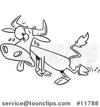 Cartoon Outlined Sweating Hot Cow by Ron Leishman