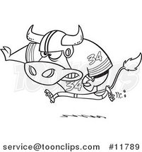 Cartoon Outlined Football Bull Running by Ron Leishman