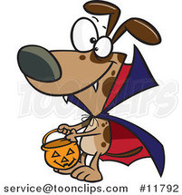 Cartoon Halloween Vampire Dog Character Trick or Treating by Ron Leishman