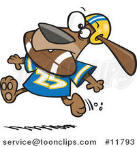 Cartoon Football Dog Character Running with the Ball in His Mouth by Ron Leishman