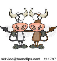 Cartoon Bull Cow Buddies by Ron Leishman
