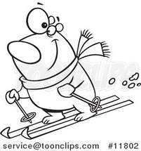 Cartoon Outlined Skiing Polar Bear by Ron Leishman