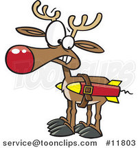 Cartoon Christmas Reindeer with Strapped Rockets by Ron Leishman