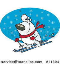 Cartoon Skiing Polar Bear by Ron Leishman