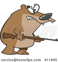Cartoon Armed Bear by Ron Leishman