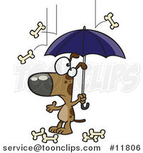 Cartoon Dog Character Under an Umbrella in Bone Rain by Ron Leishman