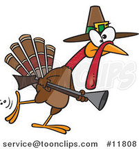 Cartoon Turkey Pilgrim Hunting by Ron Leishman