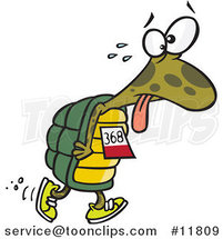 Cartoon Tired Tortoise Walking in a Race by Ron Leishman